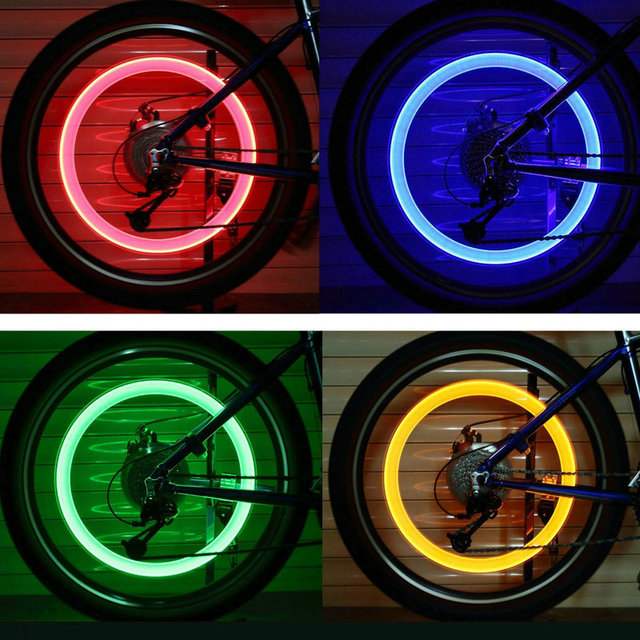 2pcs Bicycle Tire Valve Lights Cycling Wheel Caps LED Lantern Bike Spokes Lamp Bike Accessories Color blue Green Pink Yellow