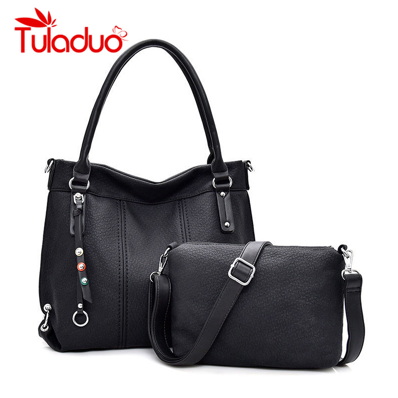 Women Handbags 2 Sets High Quality Soft Leather Casual Tote Bag Luxury Designer Shoulder Messenger Bags 2018 Bolsa Feminina mara s dream 2018 luxury handbags women bags designer high quality canvas casual tote bags shoulder bags female bolsa feminina
