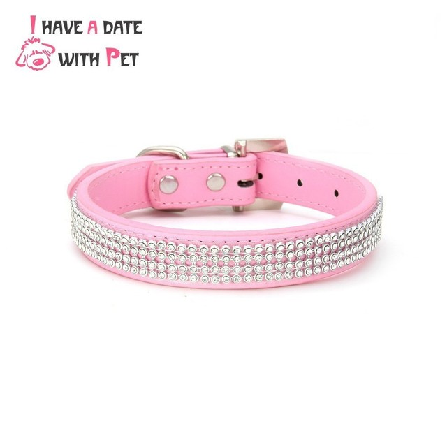 PU Leather Retractable Dog Collar Strap Size S M L Bling Rhinestone Collars for Large Big Dog Puppy Collars Dogs Accessories