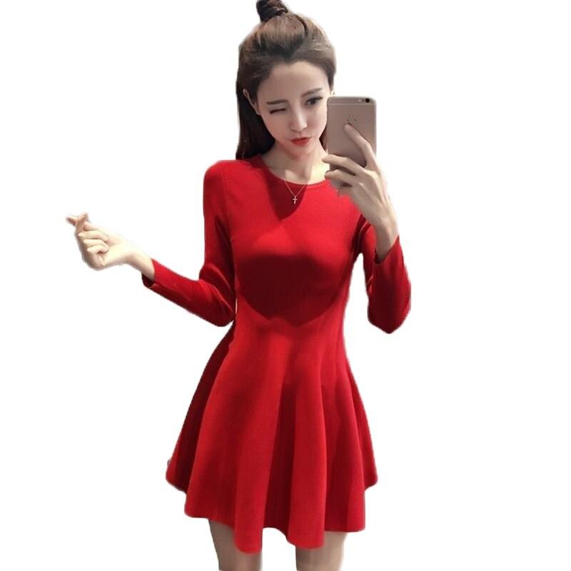 Женские платья роковой Ete 2018 Elbise пляжные для женщин Осень Линия корейский пуловер Tricot миди платье с длинными рукавами