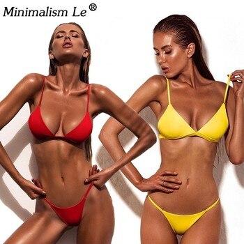 d4569289229e Minimalismo Le Sexy Bikini de corte alto mujeres Micro Tanga traje de baño  sólido bañador verano Brasileño playa Biquini