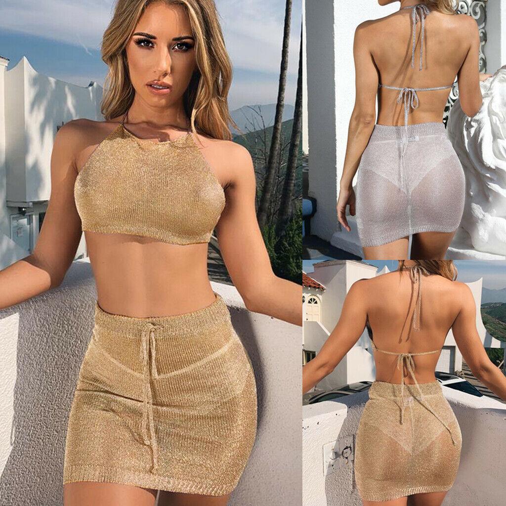 2pcs Women Mesh Bodycon Halter Crop Top Casual Party Evening Mini Skirt Set Sexy Beachwear Clothes Set