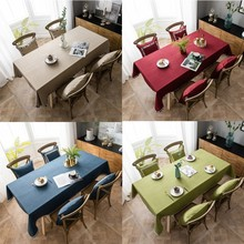 Modern Solid Waterproof Tablecloth Cotton Linen Embroidered Edge Rectangle Dining Tablecover Party Decor Home Textile
