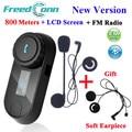 FreedConn TCOM-SC Bluetooth Motorcycle Interphone Headset Helmet Intercom LCD Screen with FM Radio + Soft Earpiece