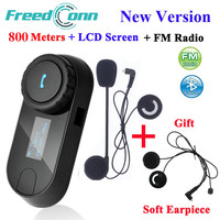 FreedConn TCOM SC Bluetooth Motorcycle Interphone Headset Helmet Intercom LCD Screen with FM Radio + Soft Earpiece