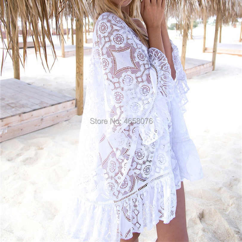 White Lace Cover Ups Swimwear 2019 Summer Sexy Bikini Pareo Beach Cover Ups Beachwear Women Dress Bathing Suit Cover up