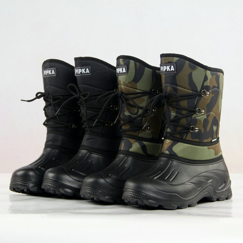 Men Winter Warm High Tube Snow Boots Outdoor Fishing Climbing Skiing Camping Hiking Thermal Waterproof Non slip Camouflage Shoes Hiking Shoes     - title=