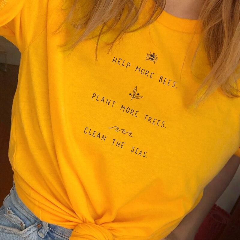 Helfen Mehr Bienen T Hemd Frauen Pflanze Mehr Bäume Graphic Tees Frauen Sparen Sie Die Meere Graphic Tees Frauen Shirts 2019 drop Verschiffen