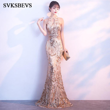SVKSBEVS 2019 Elegant Halter Sequined Bodycon Mermaid Long Dresses Party Crystal Hollow Out Zipper Back Maxi Dress