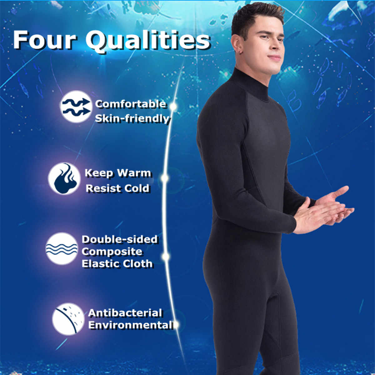 7323fcfbd1 ... 3MM Mens WetSuit S-XL Full Bodysuit Super Elasticity Diving Suit For Swimming  Surfing Snorkeling ...
