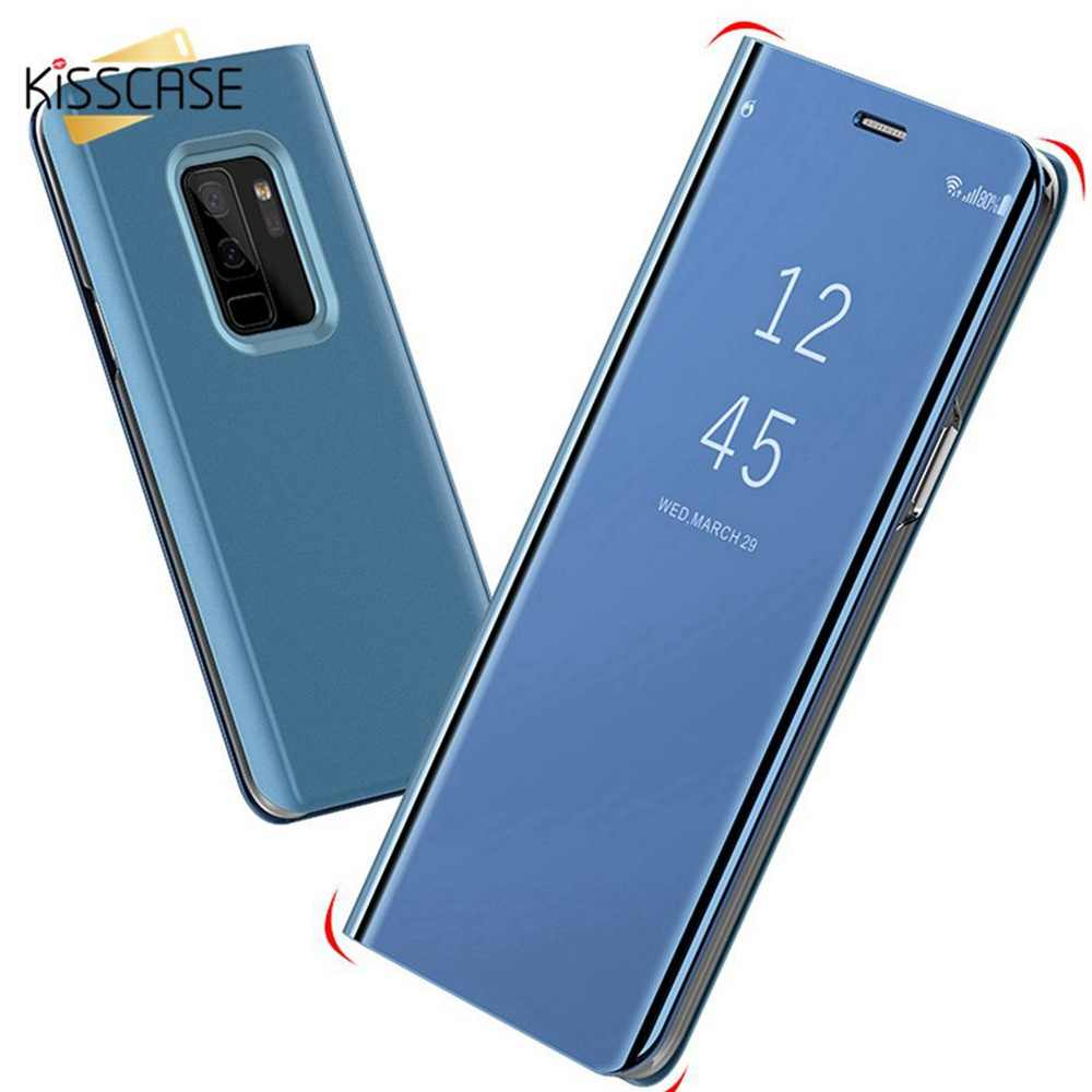 KISSCASE Luxury Fipped Case Mirror-Size Stander Phone Case For One plus 6 6T Phone Case For Sony Xperia XZ3 For OPPO A7 Coque