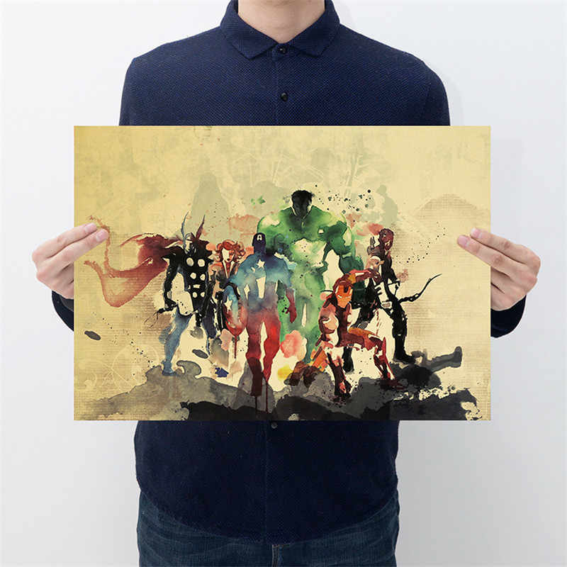 Marvel  Figures Toys Avengers 4 Endgame Iron Man Spiderman The Avengers Vintage Kraft Paper Home Decor Art Retro Prints Toy Gift