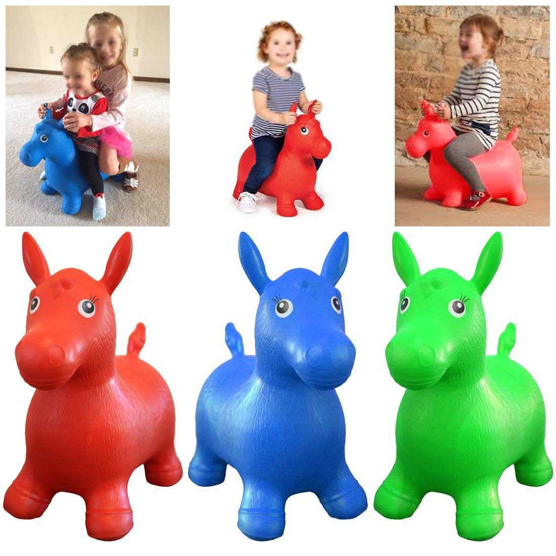 Kids Animal Bouncy Horse Hopper Toys Inflatable Bouncer Jumping Horse Riding Animal Toys Baby Play Outdoor/Indoor Toys Hand Pump