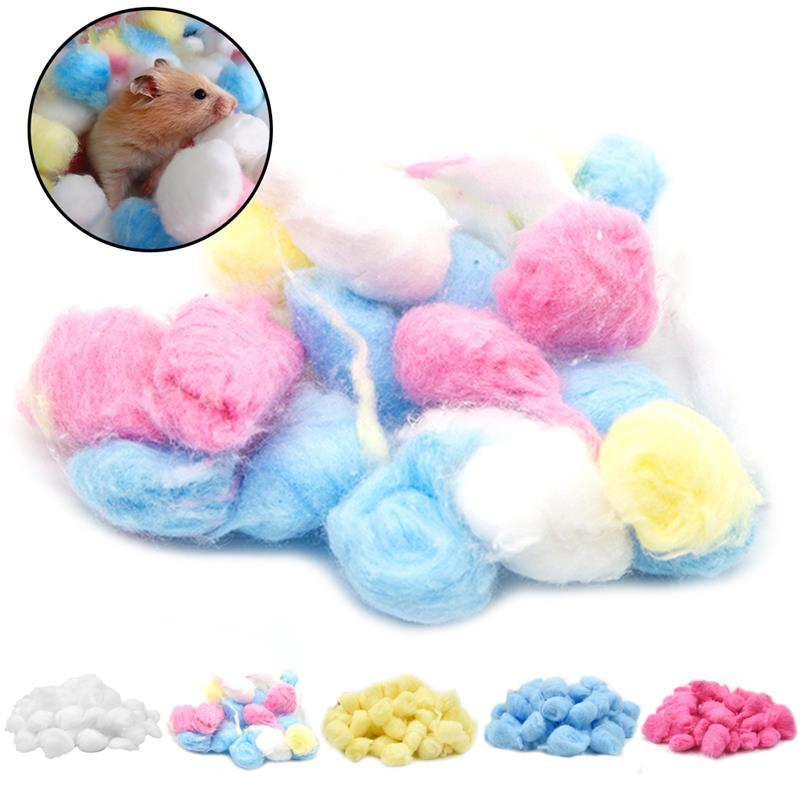 100Pcs Colorful Soft Cotton Balls Small Animals Toys For Hamster Rat Nesting Material Winter Keep Warm House Filler Supplies