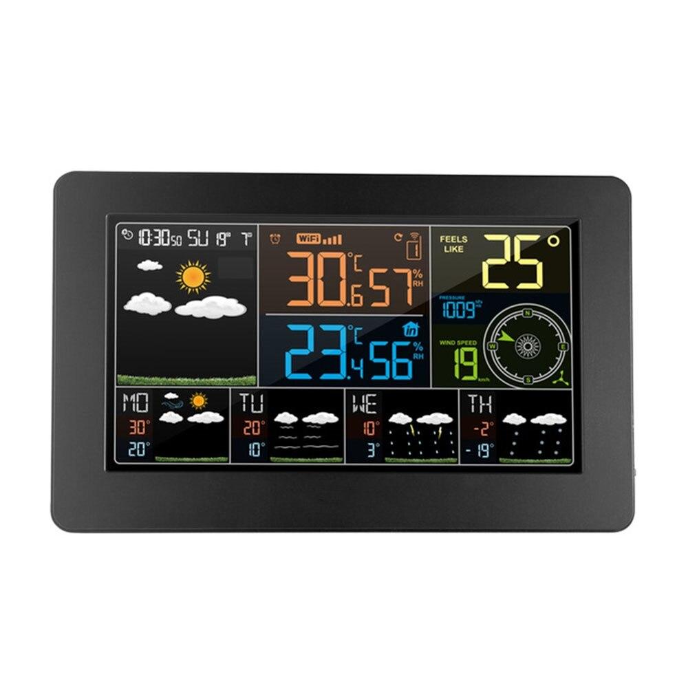 Wifi Погодная станция настенный цифровой будильник термометр гигрометр будущее прогноз погоды направление ветра барометр