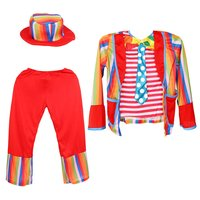 Clown Costume Boy Children Kids Circus Hat Jacket Pants for Halloween Carnival Party Cosplay Stage Performance