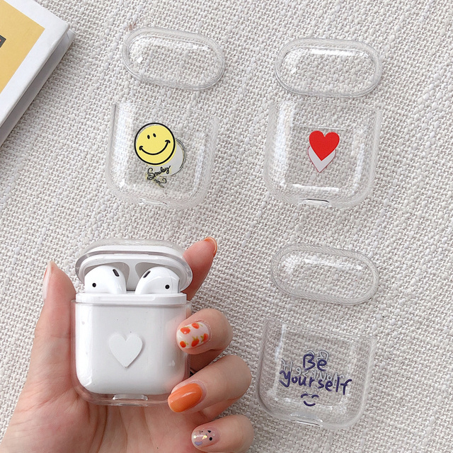Cartoon Smiley Love heart Transparent Earphone Charging Box Cover Bag for Apple AirPods Wireless Hard PC Headset Protective Case