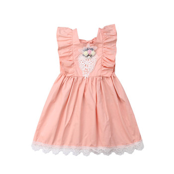 Baby Girl Dress Sleeveless Backless Ruffles Lace Stitching Party Fancy Dress Summer Children Clothes Sundress For Age 2-7 Years