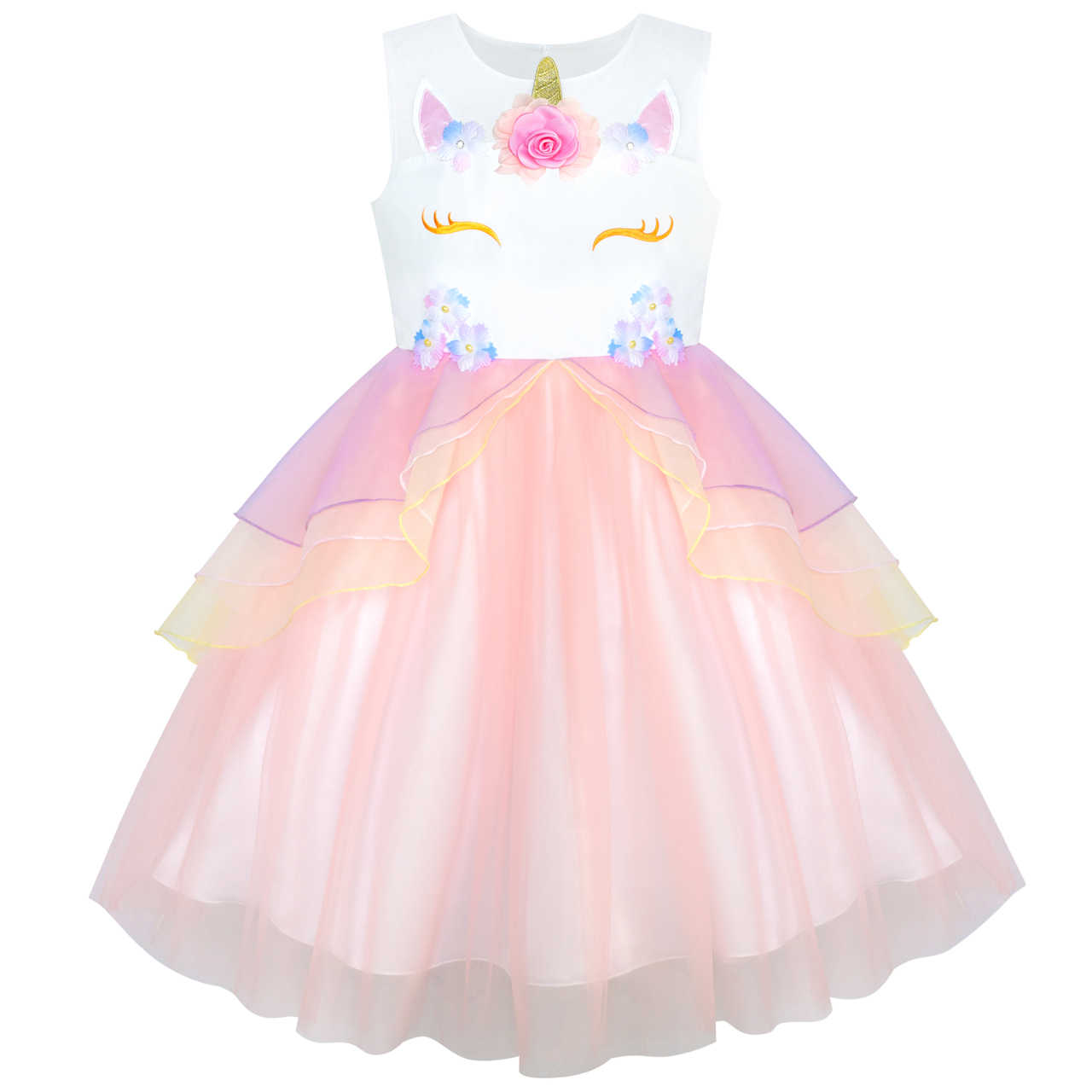 Girls Dress Blush Pink Unicorn Costume Cosplay Princess Halloween Party  2019 Summer Wedding Dresses Girl Clothes 51279ec4a1ad