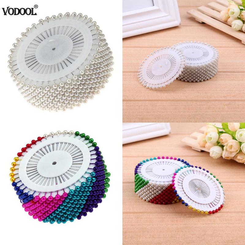 480pcs 1.46in Sewing Pins Colorful Round Pearl Straight Head Pins Localization Needle Weddings Corsage Dressmaking Accessories