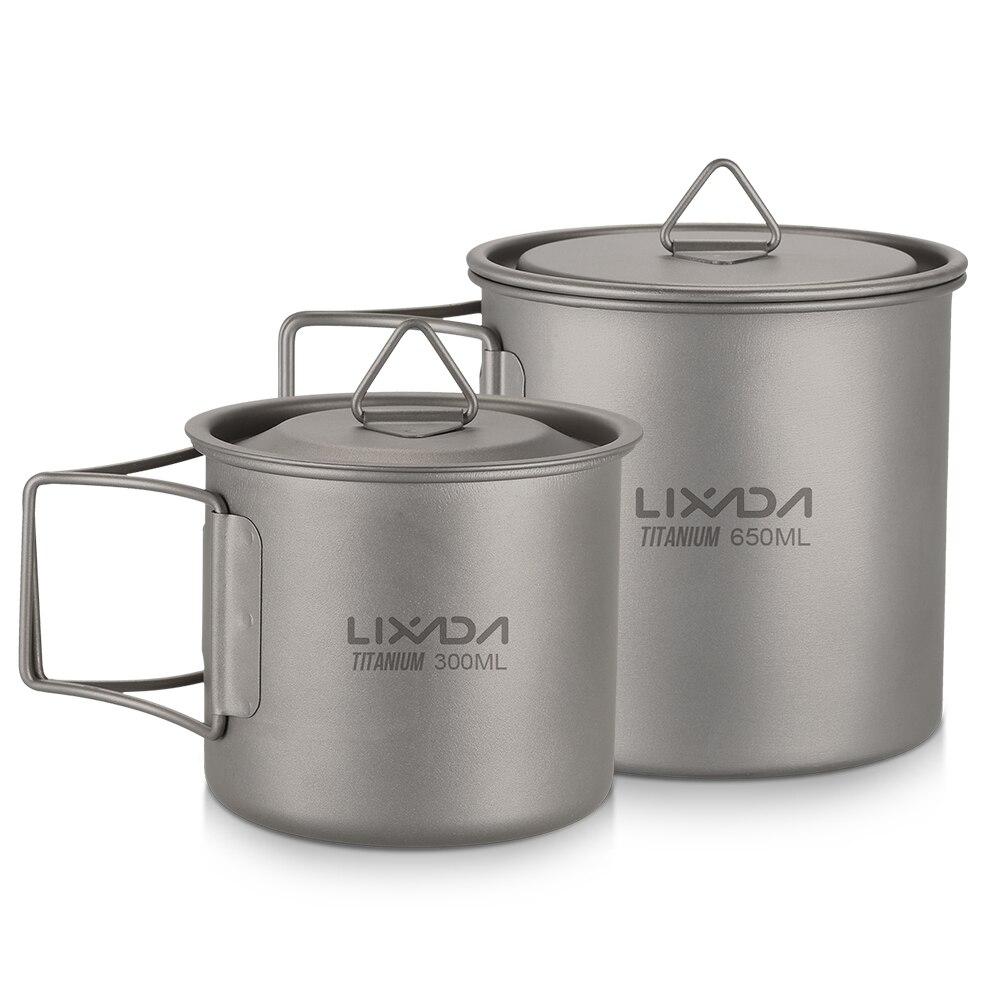 Lixada 2 pièces Ensemble de Tasse 300 ml/350 ml + 650 ml Titane Ultraléger Tasse De Camping Portatif Extérieur Pique-Nique Tasse D'eau Tasse avec Poignée Pliable