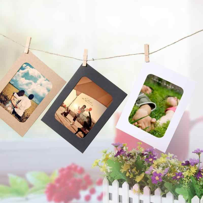 10Pcs DIY Kraft Paper Photo Frame 3-7 inch Wall-Hanging Pictures Frame Kraft Paper With Clips and Rope For Family Memory Decor
