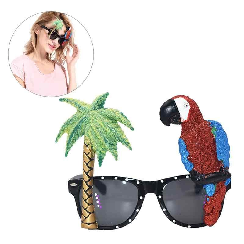 Забавные Модные прочные попугай желтовато-Красного цвета дерево очки для вечеринки Гавайские тропические солнцезащитные очки для фестивалей необычный праздничный наряд