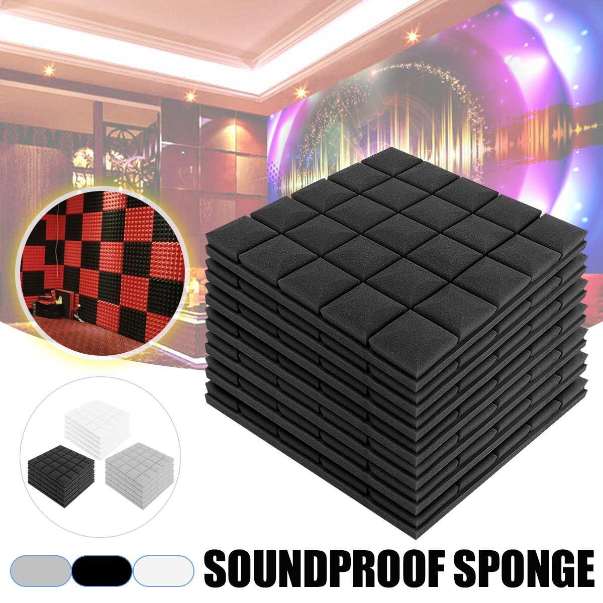 5pcs Soundproof Foam 500x500x50mm Acoustic Sound Stop Absorption Sponge Drum Room Accessories Wedge Tiles Polyurethane Foam