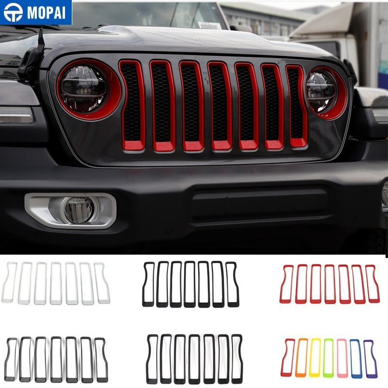 Image 1 - MOPAI Car Sticker for Jeep Wrangler JL 2018 ABS Car Front Grilles Decoration Cover Trim for Jeep Wrangler 2019+ Car Accessories-in Car Stickers from Automobiles & Motorcycles