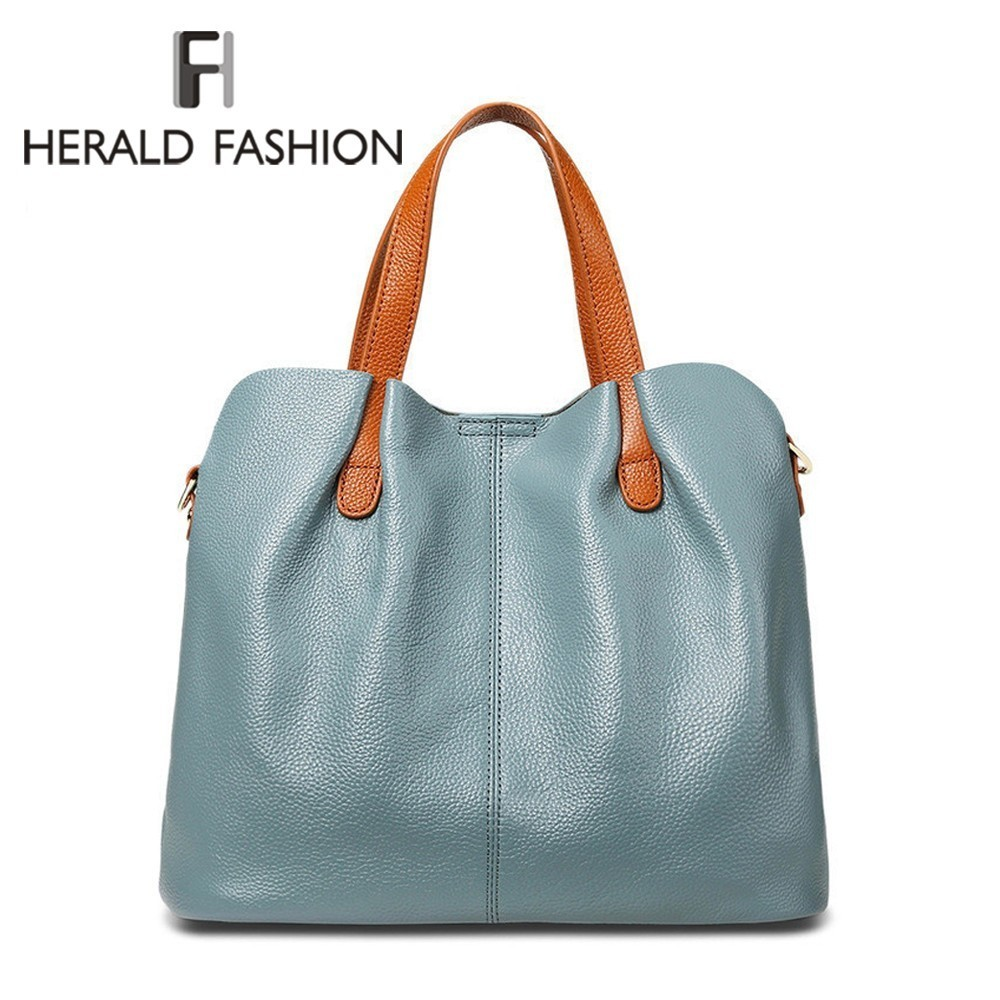 Herald Fashion Women Tote Bag Genuine Leather Casual Hand Bags Big Capacity Woman Shoulder Bag Large Ladies' Shopping Bags Sac women crocodile pattern handbag fashion casual tote large shoulder bags ladies brand genuine leather shopping bag gift hand bag