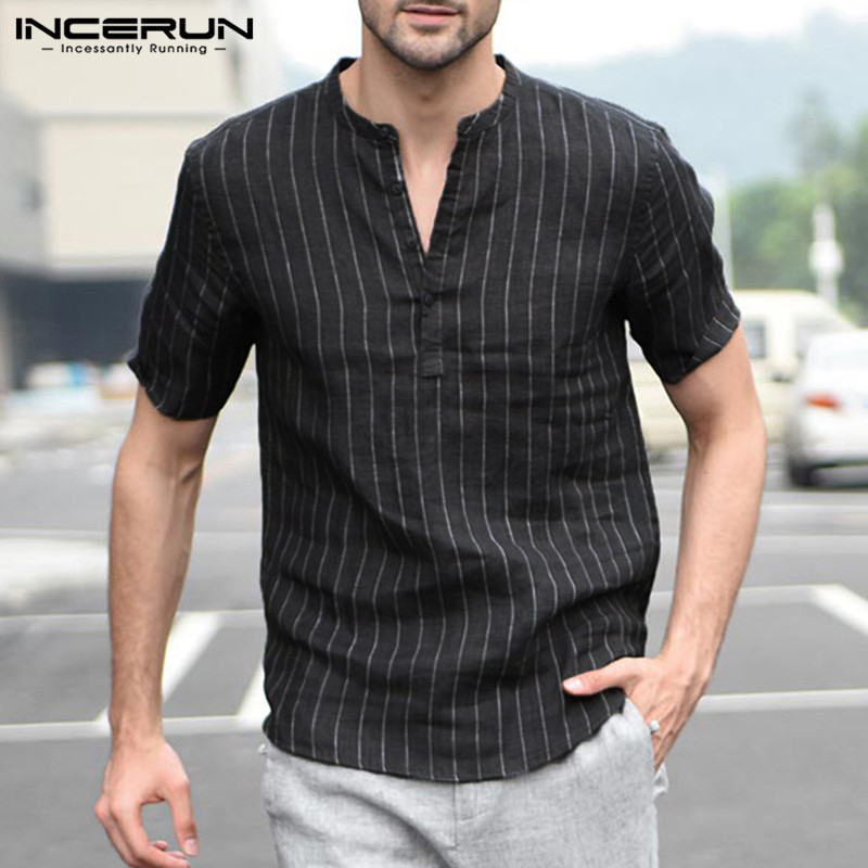 INCERUN Mens Striped Short Sleeve Dress Shirts High Quality Cotton Linen Breathable Soft Classic Shirt Chinese Retro Vintage