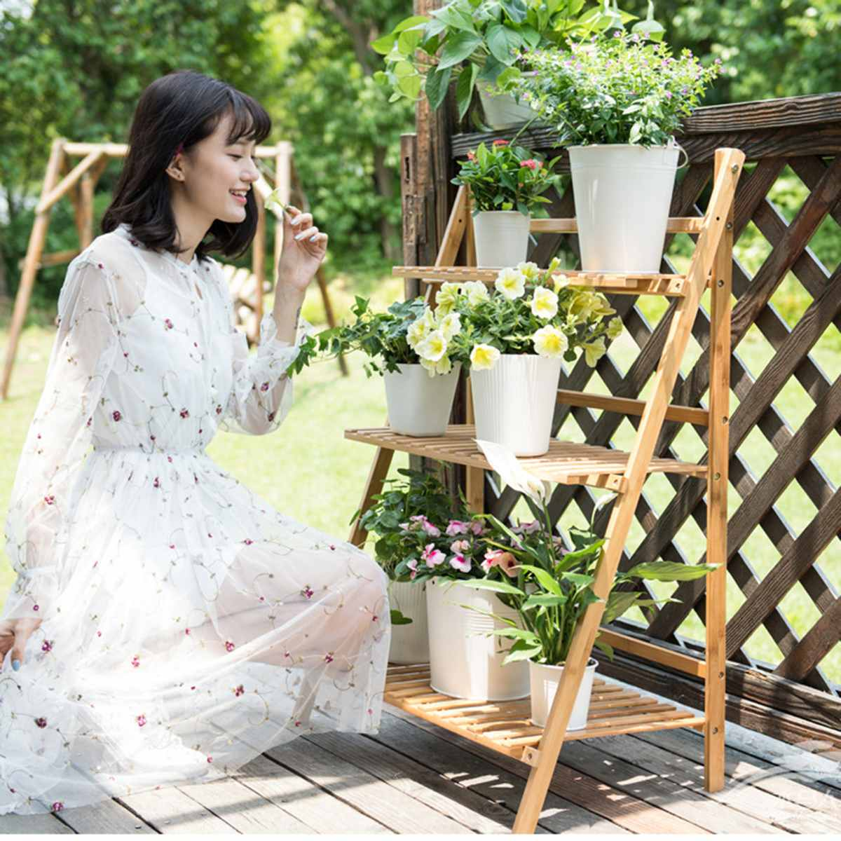 4/3/2 Layer Wood Flower Stand Plant Flower Pot Stand Decoration Wedding Balcony Garden Table Living Room Bamboo Flower Shelf