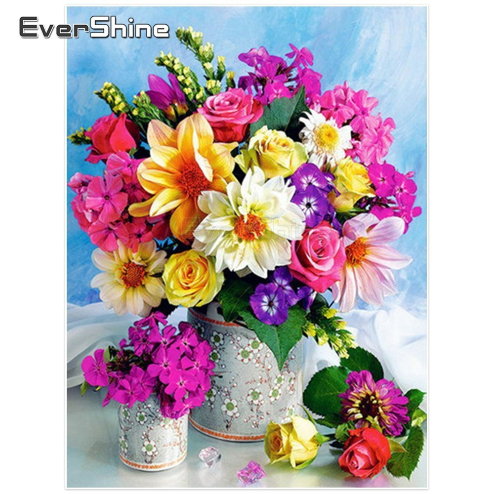 EverShine Diamond Painting Flowers Picture Of Rhinestones Diamond Embroidery Full Round Flower Diamond Mosaic Decoration Wall