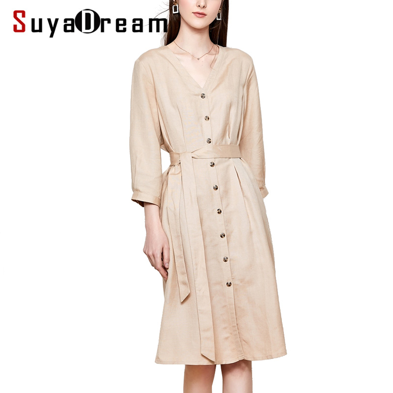 Women Silk Dress 55%LINEN 45%RAYON Office Lady Dresses for Women V neck 2019 Belted Knee Length Dress Khaki