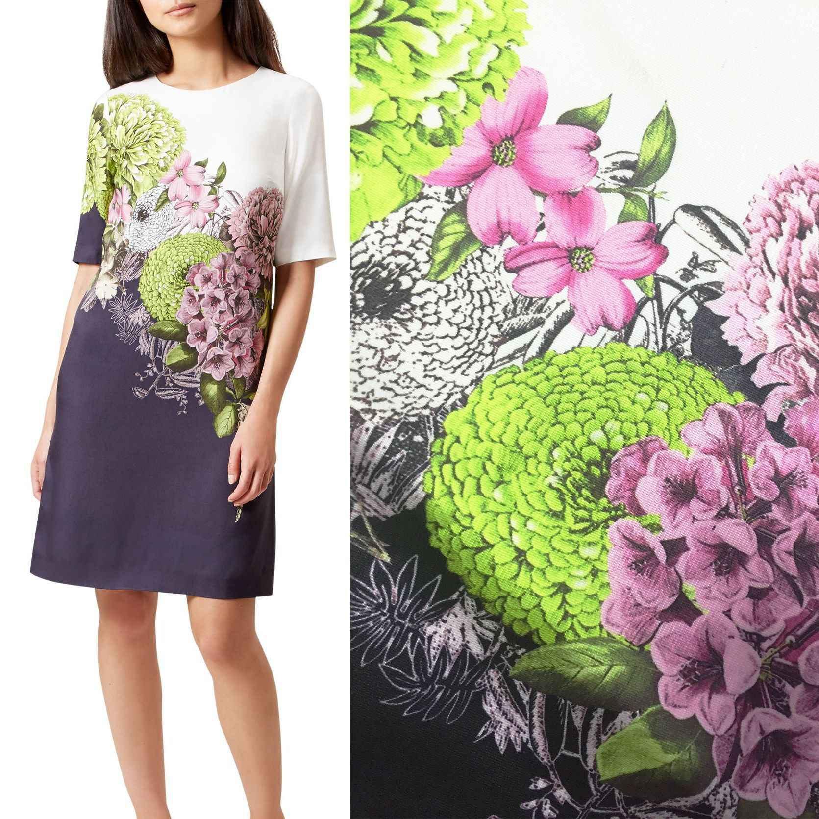 New digital printing 148cm wide custom retro style big temperament hand-painted flower dress printing fabric wholesale