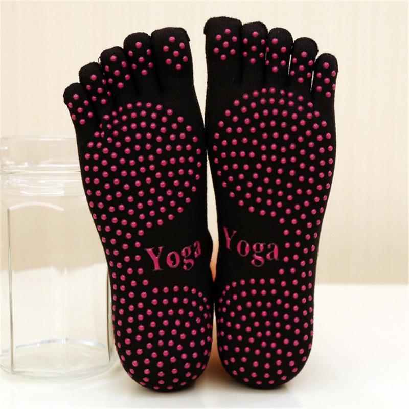 <+>  Нескользящие носки для йоги Женские носки с пятью носками Хлопковые дышащие танцевальные пилатес Нос ★