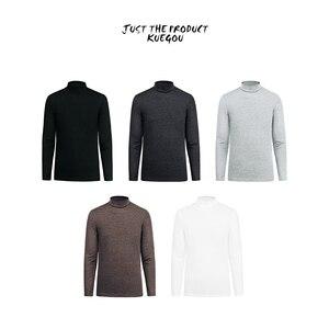 Image 2 - KUEGOU 2019 ฤดูใบไม้ร่วงผ้าฝ้ายสีขาวธรรมดาเสื้อ TShirt แบรนด์เสื้อยืดแขนยาว TEE เสื้อเสื้อผ้าแฟชั่น PLUS ขนาด TOP 803