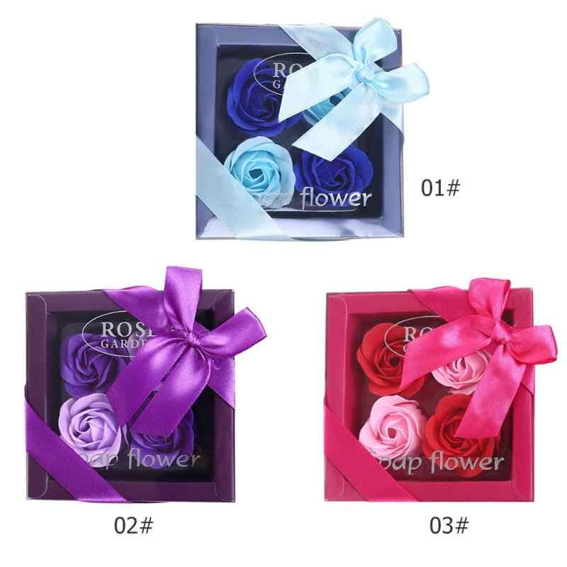 4pcs Creative Rose Flowers Scented Soap Petal Perfumed Smelling Well Wedding Decoration Valentine Best Gifts Roses Flower Soap