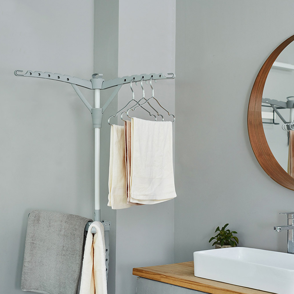 Floor-Standing Triangle Clothes Drying Rack Standing Hanger Drying Rack Clothes Storage Hanger Organizer for Balcony Bed