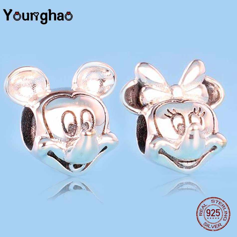 Younghao Jewelry 925 Sterling Silver Mickey Minnie European Charm Beads Fit Original Pandora Charms Bracelet Berloque DIY Making