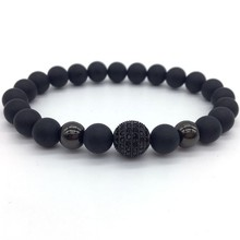 2019 Fashion Trendy New Pave Cubic Zirconia Ball Men Bracelet 8mm Stone Beads Charm For Jewelry Pulsera Hombre
