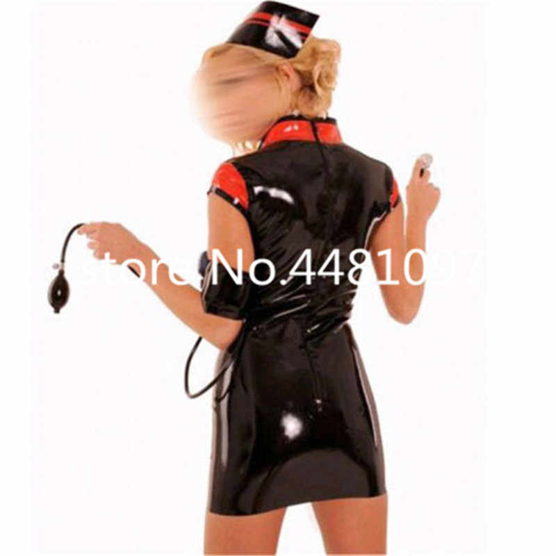 f8a1516067176 Detail Feedback Questions about Black Latex Women Dress Cosplay Nurse  Doctor Short Sleeve Rubber Skirts with Hat halloween costumes for women  plus size on ...