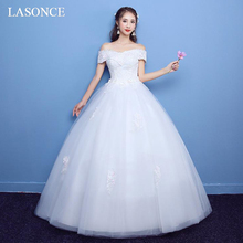 LASONCE Boat Neck Ball Gown Pink Lace Appliques Wedding Dresses Off The Shoulder Short Sleeve Backless Bridal Gowns