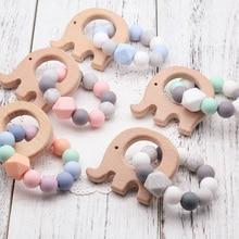 NEW Wooden Baby Bracelet Animal Shaped Jewelry Teething baby