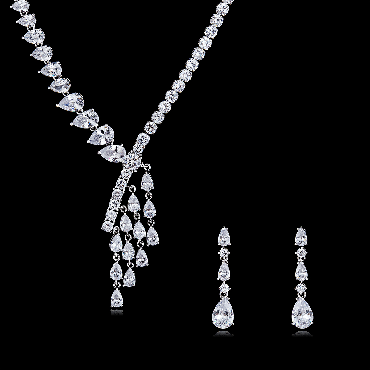 Individuality Crystal CZ Cubic Zircon Bridal Wedding Flower Necklace Earring Set Jewelry Accessories CN10141