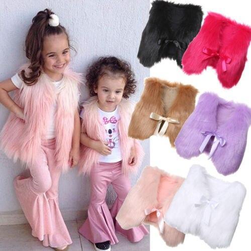 2019 Neuestes Design Kleinkind Baby Mädchen Kinder Winter Faux Pelz Taille Gilet Jacke Outwear Weste Mantel 2018 Festsetzung Der Preise Nach ProduktqualitäT