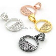 14*12*2 мм Micro Pave Clear CZ круглое очарование подходит для мужчин и женщин делая ожерелья ювелирные изделия