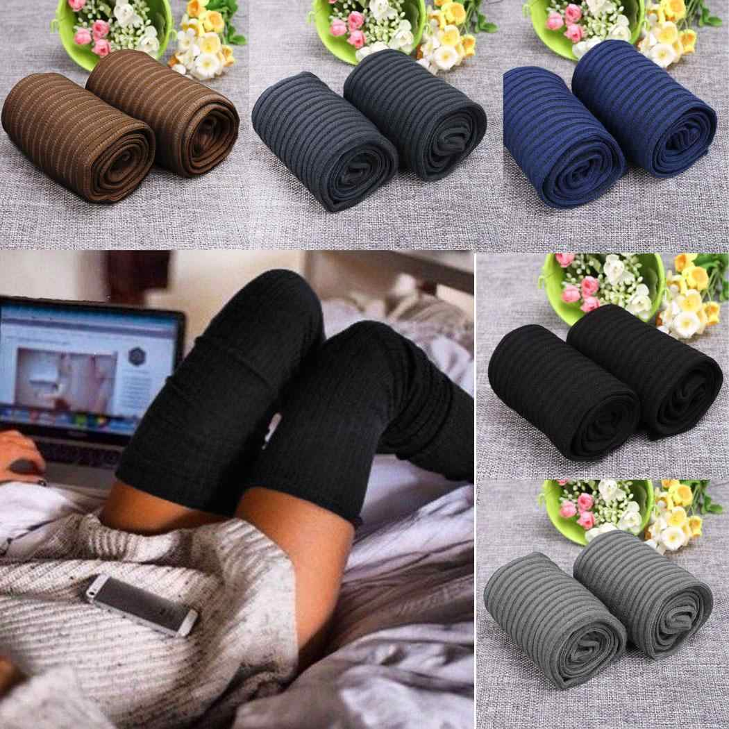 ใหม่ผู้หญิงมากกว่าเข่าถุงเท้าแฟชั่นผู้หญิงหญิงหญิงเซ็กซี่ของถุงน่องยาว Boot ถักต้นขาสูง Ligh สีเทา dark สีกากีสีดำ