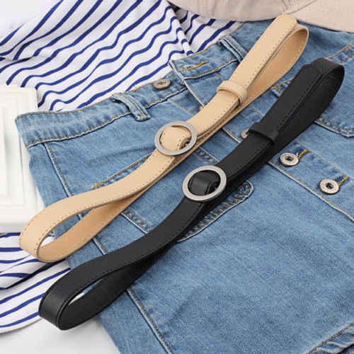 New Gold Ronde Metalen Cirkel Riem Vrouwelijke Goud Zilver Zwart Wit PU Lederen Taille Riemen voor Vrouwen Jeans Broek Groothandel