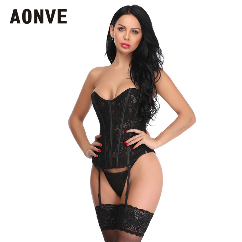 Aonve Sexy Women   Bustier     Corset   Top Hollow Out Hot Ladies Korset Black Lace Lingerie Overbust Korse Ropa Gotica Mujer S-2XL